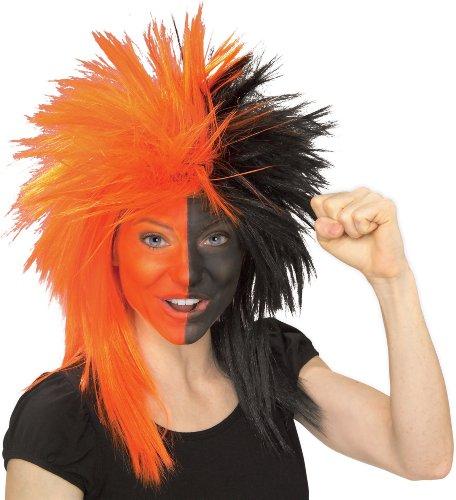 Rubie's Costume Orange and Black Sports Fan Wig, Orange/Black, One Size - 1