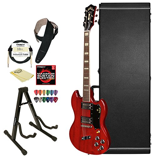 Guild Cherry Red S-100 Polara Solid Body Electric Guitar With Guild Hard Case, Chromacast Electric Strings, Cable, Strap, Picks, Stand And Polish Cloth