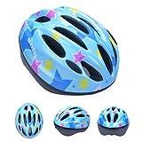HORIZON 軽量 サイクリング 自転車 用 ヘルメット キッズ ジュニア 子供 用 ダイヤル アジャスター 付き (ブルー・星, M(45-56CM) 5-12歳)