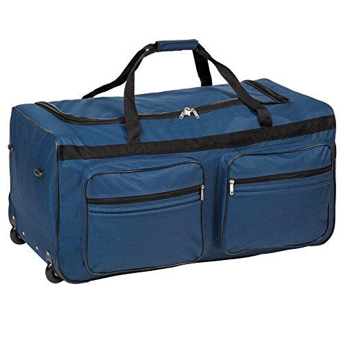 TecTake Trolley borsa da viaggio XXL borsone sportivo | due ruote | 160 litri | manico telescopico | blu