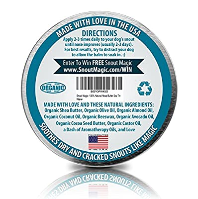 Snout Magic: 100% Organic and Natural Dog Nose Butter (2oz) - Proven to Cure Your Dog's Dry Chapped Cracked and Crusty Nose