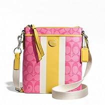 Coach Signature Stripe Pvc Stripe Swingpack Purse 49080 Pink and Yellow