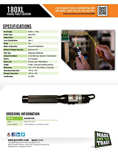 Greenlee Fault Locator : Greenlee mm vfl adapter for xl visual fault locator