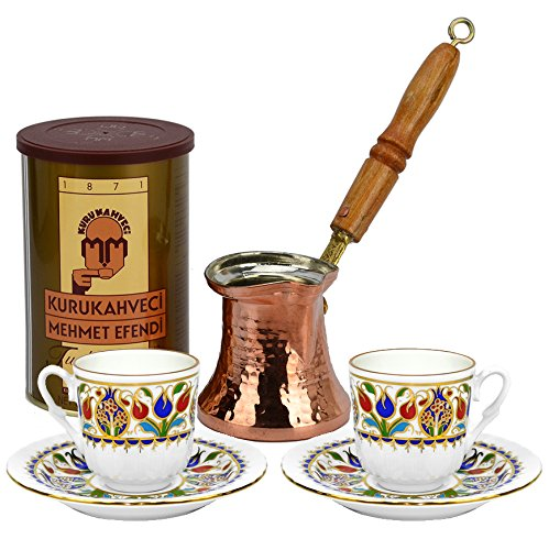 Turkish Coffee World Turkish Coffee Set For Two With Premium Coffee (8.8 Oz/250 G)