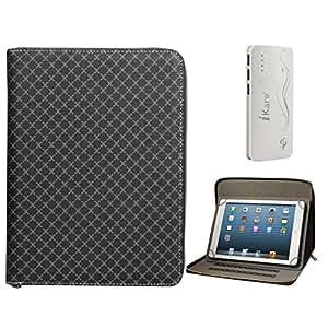 DMG Premium Stitched Durable Portfolio Bag with Accessory Pockets for Lenova A3000/60034 (Textured Black) + 10000 mAh Three USB Port Power Bank