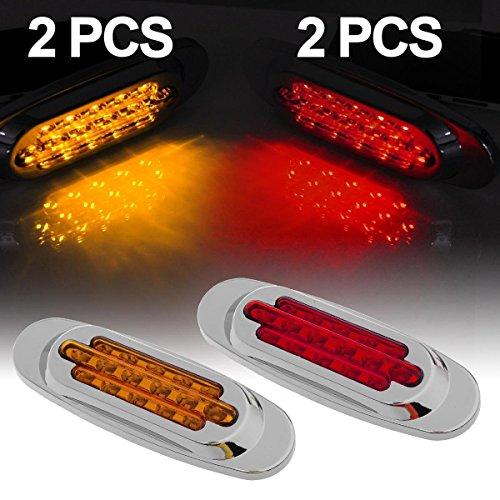 Partsam 2 Amber &Red , Sealed , 16LED , Surface Mount, 6.5