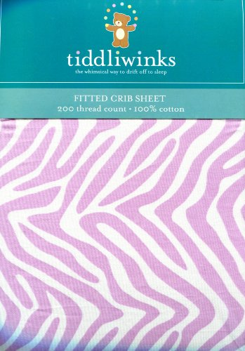 TIDDLIWINKS LAVENDER ZEBRA PRINT FITTED CRIB SHEET