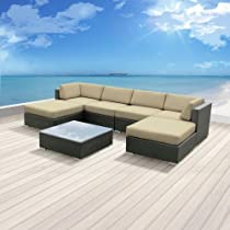 Hot Sale Luxxella Outdoor Patio Wicker MALLINA Sofa Sectional Furniture 7pc All Weather Couch Set LIGHT BEIGE