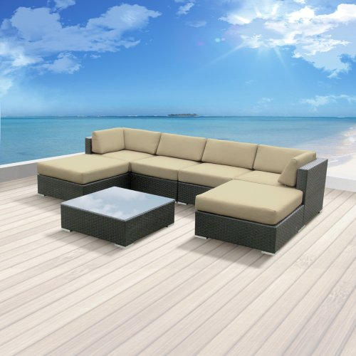 Luxxella Patio Mallina Outdoor Wicker Furniture 7-Piece All Weather Couch Sofa Set, Light Beige photo
