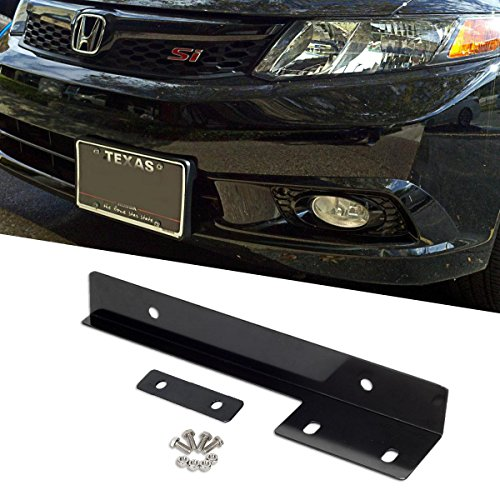 Partsam 1 Set Universal Fit Front Bumper License Plate Mounting Kit Bracket Holder Relocate Bar Black Aluminum Metal (Front Bumper For Honda Civic 2000 compare prices)