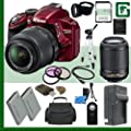 Nikon D3200 CMOS DSLR Camera with 18-55mm VR Lens (Red) + Nikon 55-200mm f/4-5.6G ED IF AF-S DX VR Lens + 64GB + Green's Camera Bundle
