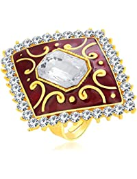 Sukkhi Fashionable Designer Traditional Cocktail Gold Plated American Diamond Finger Ring For Women