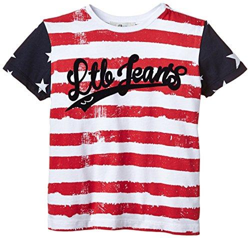 LTB Jeans Jungen T-Shirt LINGUBE T/S, Gr. 176 (Herstellergröße: 15-16), Mehrfarbig (RED WHITE STRIPES 976.0)