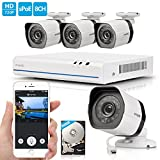 Zmodo 8 CH 4 Camera Outdoor Indoor High Definition NVR Home Video Security Surveillance Camera System 500GB HDD