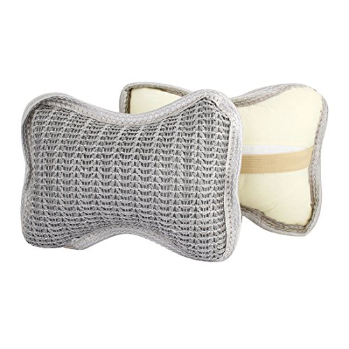 Net Design Neck Headrest Car Cushion Plaid Pillow Gray 2Pcs For Car front-1043716