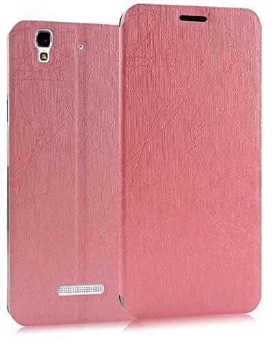 Heartly Premium Luxury PU Leather Flip Stand Back Case Cover For Micromax Yu Yureka / Yureka Plus Cyanogenmod - Cute Pink