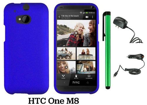 Htc One (M8) Solid Plain Color Hard Protector Cover Case (For 2014 Htc New Flagship Android Phone; Carrier: Verizon, At&T, T-Mobile, Sprint) + Travel (Wall) Charger & Car Charger + 1 Of New Assorted Color Metal Stylus Touch Screen Pen (Blue)