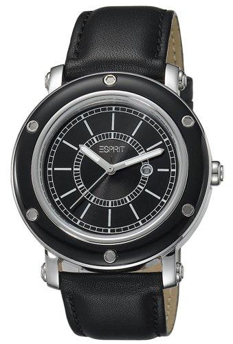 Esprit  Deco Black - Reloj de cuarzo para mujer, con correa de cuero, color negro