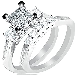 Diamond Bridal set Wedding rings 1ctw Princess cut top White gold 10K 2pc Real