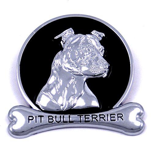 Pit Bull Terrier Chrome Dog Medallion Car Emblem Logo Badge (Pitbull Car Emblem compare prices)