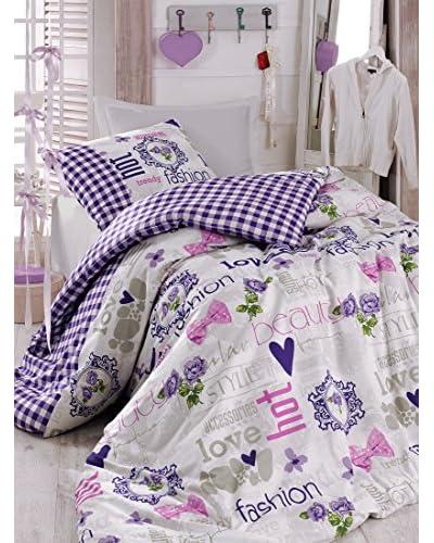 Homemania Juego de Edredón Fashion Love Lila 155 x 200 cm