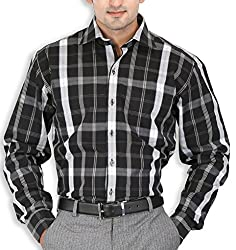 SPEAK Mens Black White Checks Cotton Formal Shirt