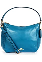 Coach 51900 Madison Leather Top Handle Convertible Handbag Teal
