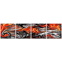 Abstract Acrylic Art \'Lava Red\' Reverse-Printed Acrylic, Contemporary Red, Grey & Black Plexiglass Plastic Art, Modern Accent Panels, Abstract Artwork