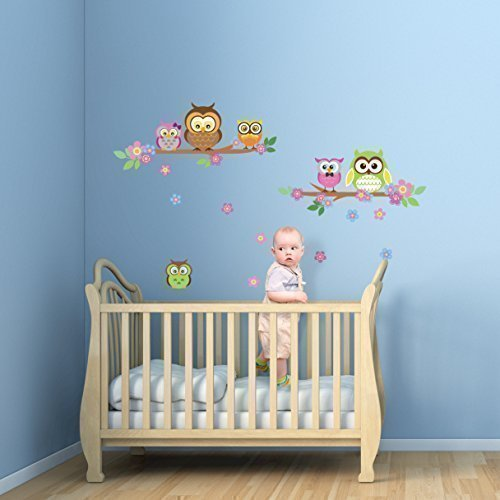 Walplus Owl Flower Tree Wall Stickers ,Home Decoration ,Children Bedroom , Interior Family Living Room , 100Cm X 60Cm, Pvc, Removable,Multi-Color