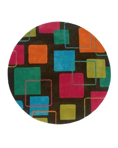 Trade-Am Vibrance Lines & Shapes Round Rug  [Black]