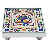 DollsofIndia Colorful Ritual Seat - Wood And Metal Foil Paper - 5x5x1.25 Inches