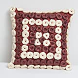 A S Traders Hand Embroided Balls Cushion Cover Polysilk Handmade & Balls filled with Polyfiber (40 Cm x 40 Cm,...