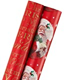American Greetings Christmas Wrapping Paper, Red 'Merry Christmas' & Santa, 2-Roll Pack (068981161639)