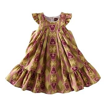 Tea Collection Baby-girls Infant Endek Ikat Flutter Dress, Woodrose, Large