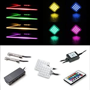 LED RGB Lighting Set with 2 RGB Glass Edge Clips and 2 Down Light Spots - Read Reviews
