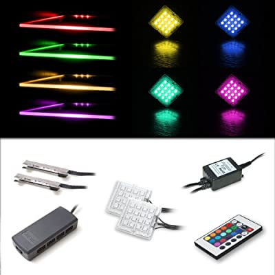 LED RGB Lighting Set with 2 RGB Glass Edge Clips and 2 Down Light Spots