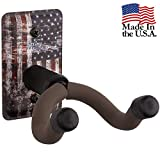 String Swing Guitar Hanger - Holder for Electric Acoustic and Bass Guitars - Stand Accessories Home or Studio Wall - Musical Instruments Safe without Hard Cases – Amercian Flag Steel CC60K-FL