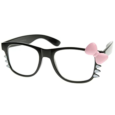 Clear Fashion Glasses Black Pink Womens Retro Fashion Kitty