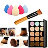 Mefeir 15 Colors Professional Concealer Camouflage Makeup Palette Contour Face Contouring Kit + Oblique Head Contour Makeup Brush with Free Makeup Sponge Blender (Water Drop)