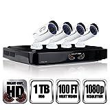 NIGHT OWL C-841-A10 8 Channel 1080P DVR Security System, 4 HD 1080p Cameras 1 TB HDD (Black DVR/White Cam)