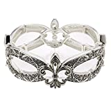 Silvertone and Black Fleur De Lis Stretch Bracelet