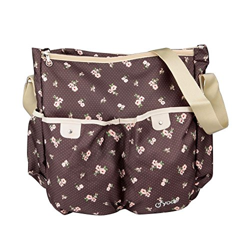 Yodo Light Weight Medium Baby Diaper Bag and Messenger Bag for Moms - Separated Compartment for Wet Cloth, Brown Flower - 1