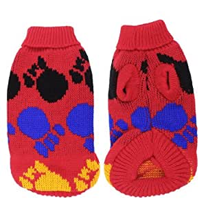 Pet Yorkie Doggie Red Sleeves Paw Print Warm Apparel Sweater Coat XS