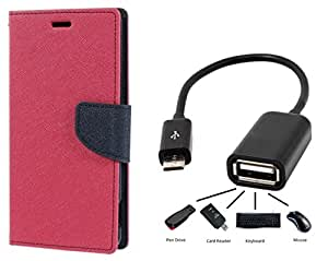 Relax And Shop Flip Cover With OTG Cable For Samsung Galaxy Note 1 GT 9220 - (Pink Pink Flip With OTG)