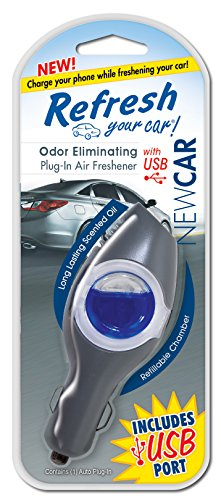 Refresh Your Car! 09605 Power Plug-In Air Freshener with USB, New Car (Car Air Freshener Refillable compare prices)