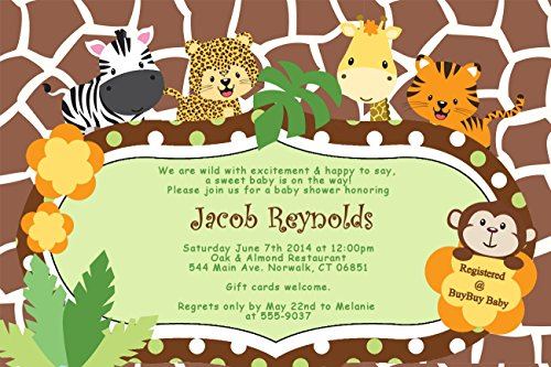 Personalized Baby Shower Invitations Zebra Tiger Monkey Jungle Cards Custom Printed! (Zebra Baby Shower Invites compare prices)
