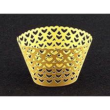Láser cortar envolturas de la magdalena envuelve decoración casos torta corazon pequeño (12, Gold)