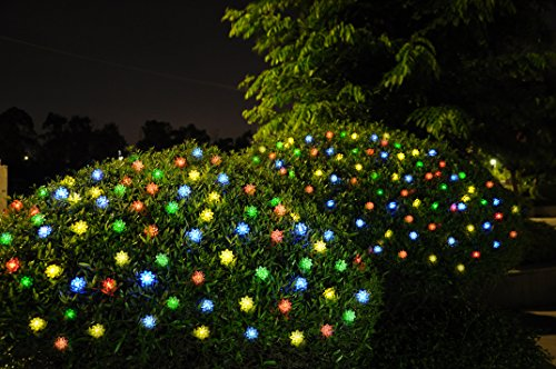 50 led solar lights string lotus outdoor fairy lights for. Black Bedroom Furniture Sets. Home Design Ideas
