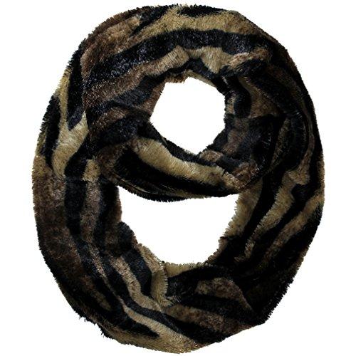 Luxury Divas Brown & Black Zebra Striped Soft Faux Fur Circle Infinity Scarf