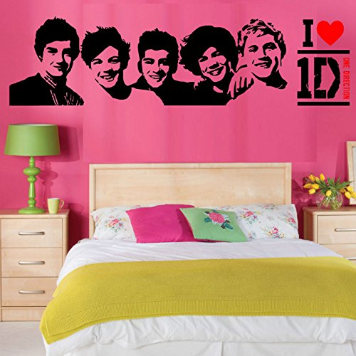 (11.81 Inch X 41.34 Inch) I Do Love One Direction With the 5 Team Members' Head Portraits Vinyl Lettering Decal Home Decor Wall Art Saying Sticker Quote Bedroom Window Sitting Room Sofa Background DIY Art Sticker(Black & Red) (One Direction Quotes compare prices)